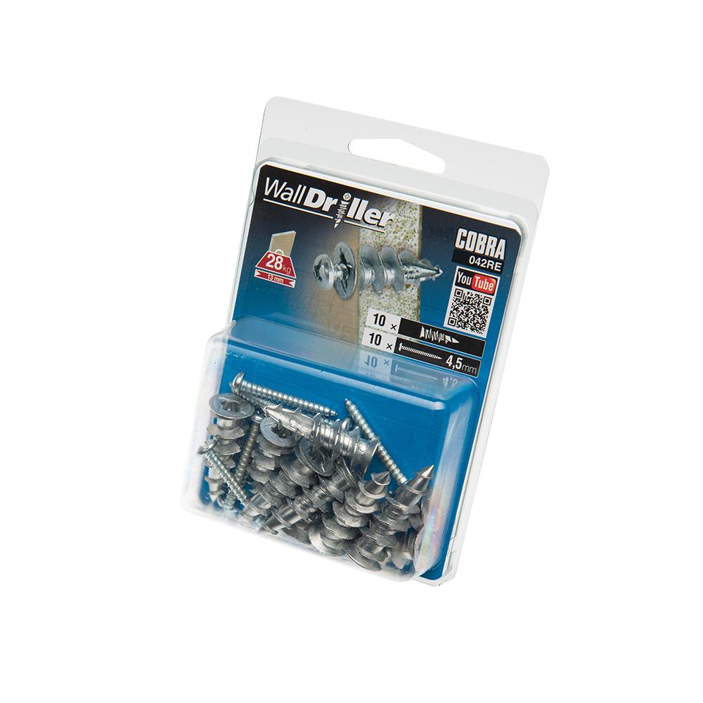 4.5mm Cobra Zinc WallDriller, 10 Pack