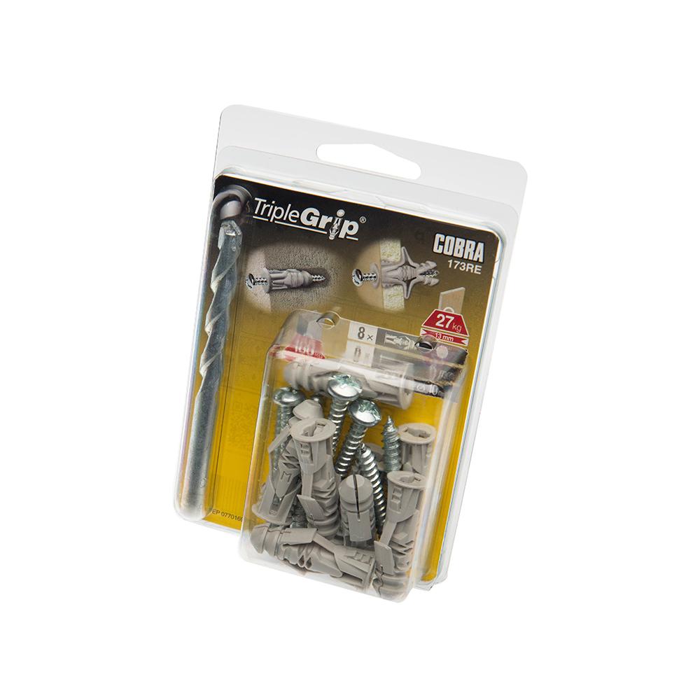 6mm Cobra Grey Triple Grip, 8 Pack